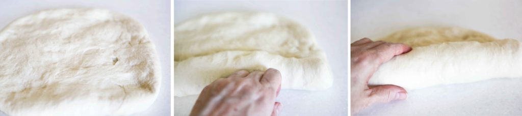shaping dough for Delicious and Easy Homemade White Bread dough ready to rise