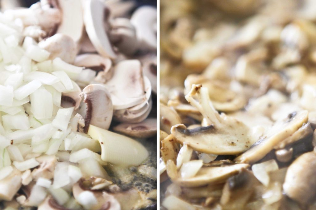Reduce heat to medium, and add 1 tablespoon butter 8 ounces mushrooms, sliced 1 medium onion, sliced Cook, stirring constantly, until lightly browned. (about 5 minutes)