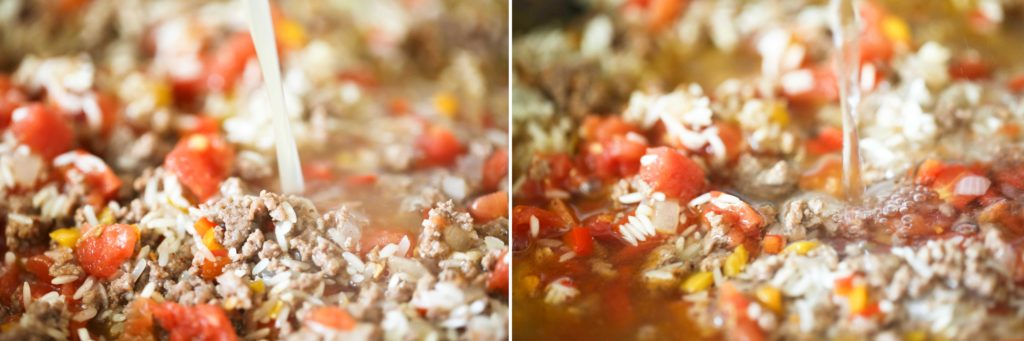 Add 1 can (10 ounce) Rotel tomatoes 1 can (14 ounce) chicken broth 1 ½ cups water Mix until combined.