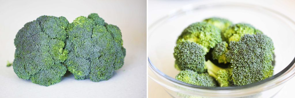 Start by washing and cutting a desired amount of broccoli. It's important to remember that broccoli, like all green vegetables, contains chlorophyll. That's what gives it that gorgeous green color.