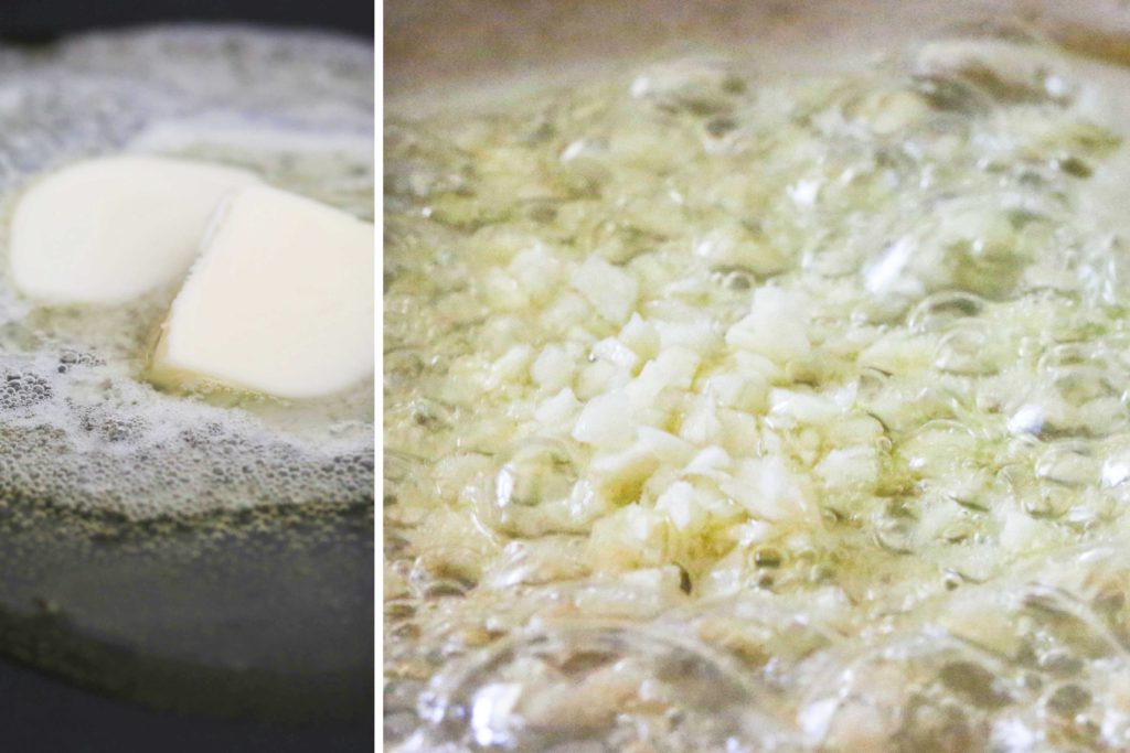 While the pasta boils, in a large skillet over medium heat, heat 2 tablespoons butter 2 tablespoons olive oil Add 2 cloves minced garlic Cook, stirring occasionally, until tender, but do not let the garlic turn brown (about 1 minute).