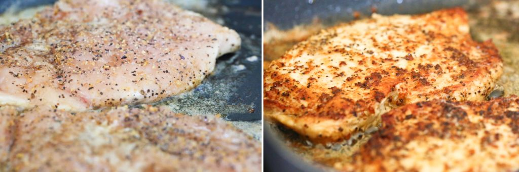 Add chicken breasts and cook 5 minutes per side. ~ OR ~ Preheat grill to medium high heat, lightly oil grate, and grill chicken breasts on medium high for 6-8 minutes per side.