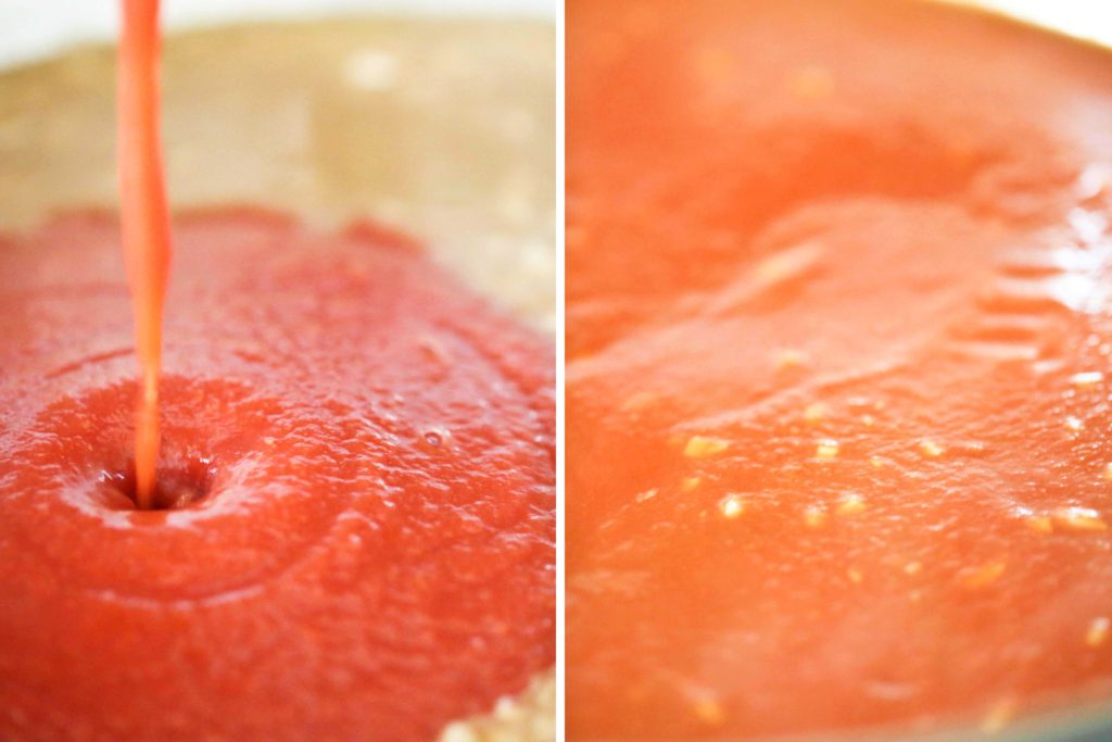 Once the broth has reduced, stir in 1 can (15 ounces) tomato sauce.