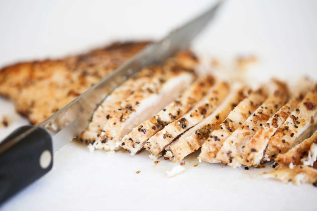 Thinly slice chicken breasts, and ...