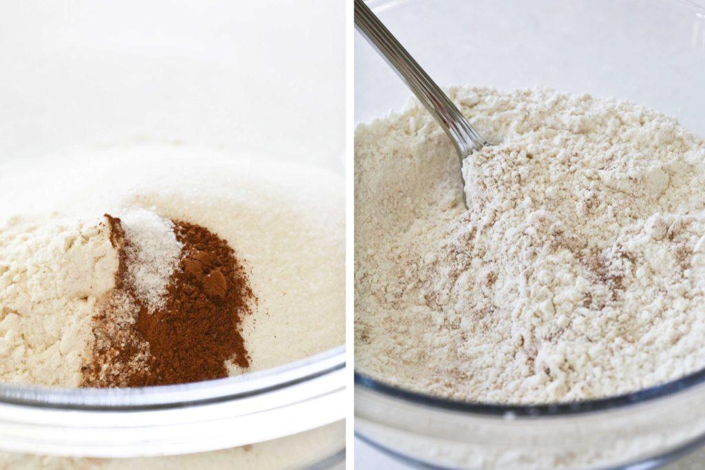 Combine 1 cup flour 1/2 cup sugar 1/2 teaspoon cinnamon 1/4 teaspoon salt Whisk together.