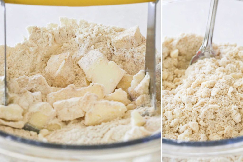 ... using a pastry cutter or two butter knives, cut the butter into the flour mixture until it resembles coarse oats.