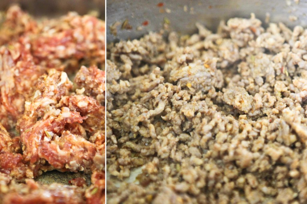 In a large dutch oven or 6-quart pot over medium-high heat, brown 1 pound Italian Sausage (sweet or hot) (7-10 minutes)
