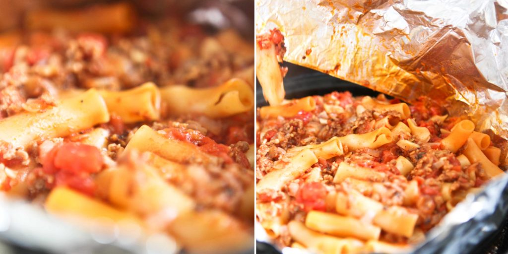 When pasta is finished, remove foil, and give it one quick stir.