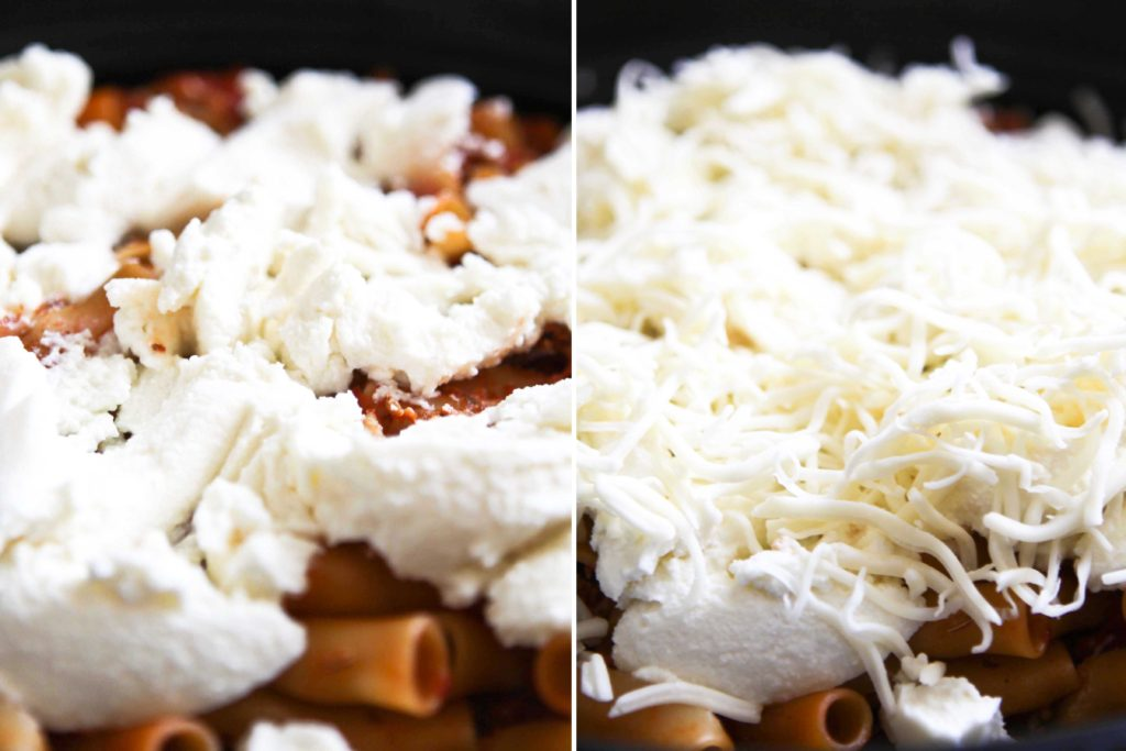 Top with 1 cup ricotta cheese (8 ounces) 1 cup mozzarella cheese (4 ounces)