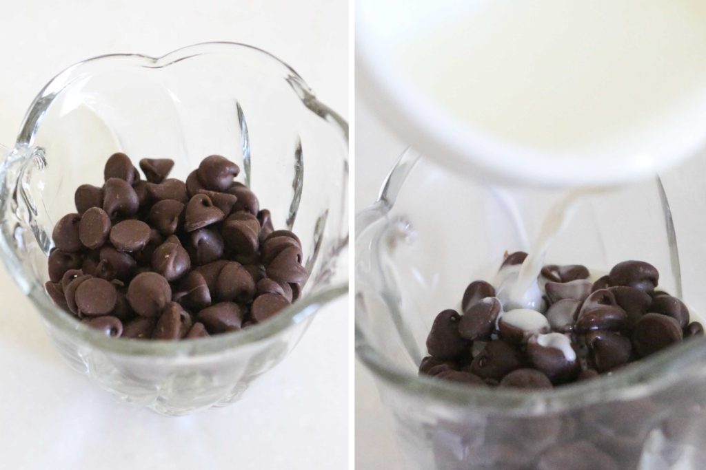 About an hour before you serve them, pour 1/4 cup of boiling heavy cream over 1/2 cup of semi-sweet chocolate chips.