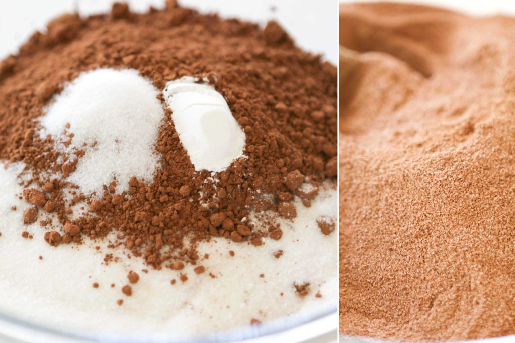 In a mixing bowl, combine: 2 cups granulated sugar 2/3 cup cocoa powder 1 teaspoon salt 1 teaspoon baking powder Mix completely
