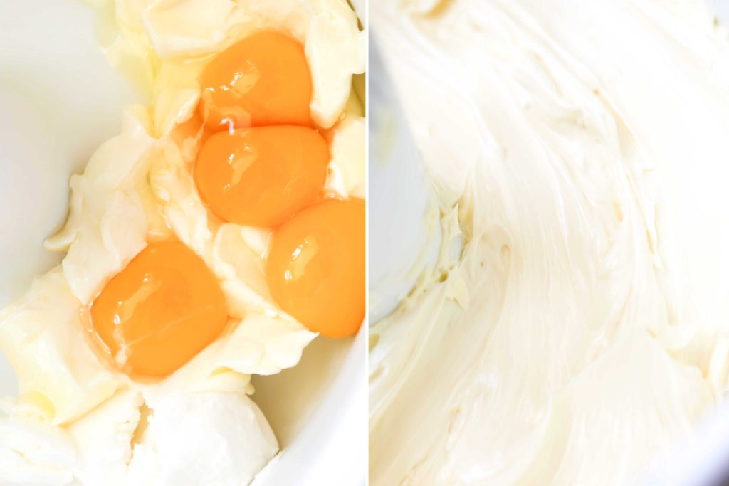 In the bowl of your stand mixer (or another large mixing bowl), combine 1 cup unsalted butter, softened 1/3 cup shortening (may substitute with more butter) 4 eggs Beat at medium speed for 5 minutes or until light and fluffy.