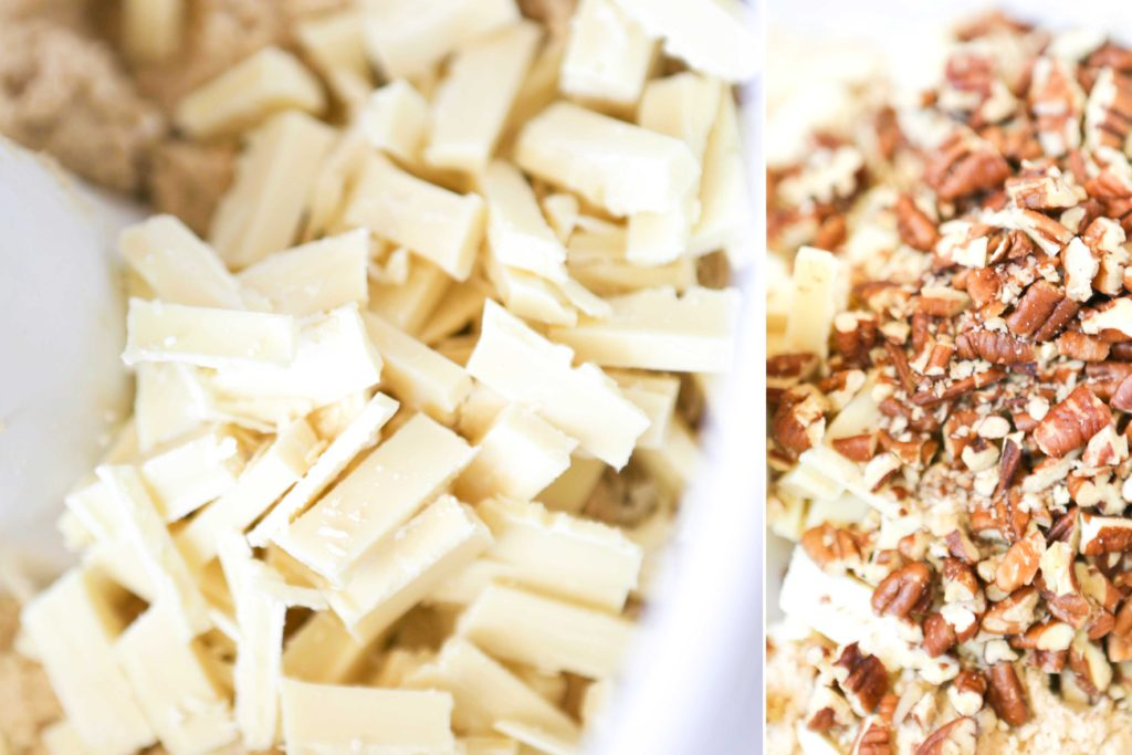 Fold in 8 ounces white chocolate, chopped 1 cup pecans, chopped