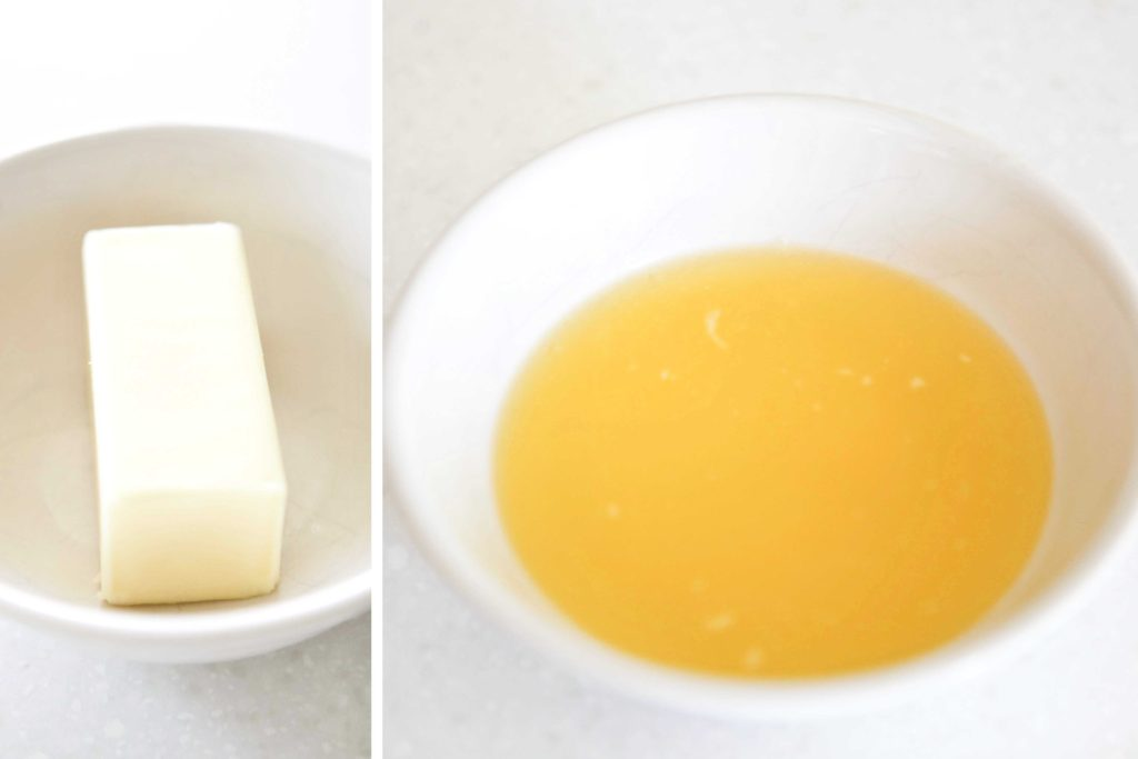 Melt ¾ cup butter (1 ½  sticks) Let it cool for 15 minutes.