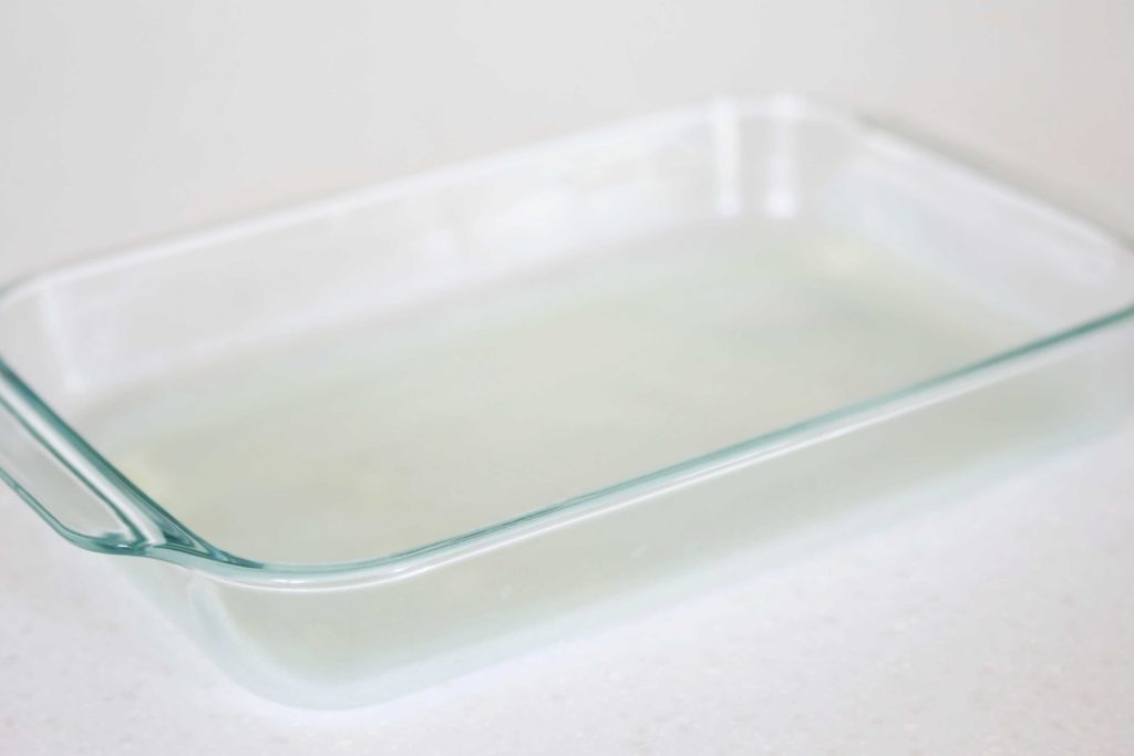 Lightly coat a 13 x 9 inch baking pan with non-stick spray.