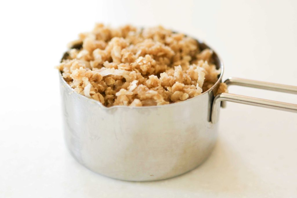 Reserve one cup of oat mixture.