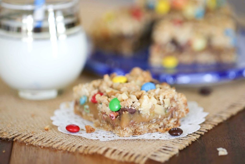 Chewy Chunky Monster Cookie Bars