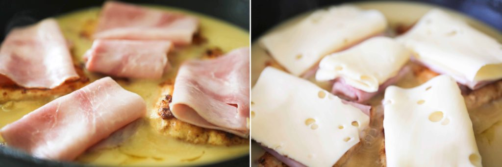 Top each piece with a slice of ham (folded to fit) and a slice of cheese (folded to fit).