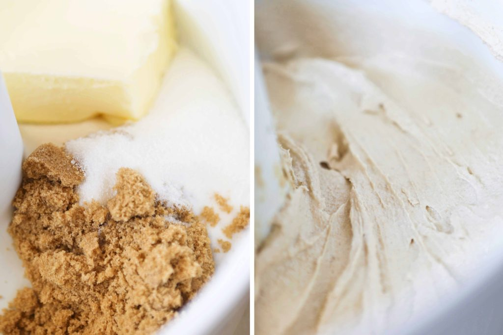 Combine and beat until creamy (3-5 minutes) 1 cup brown sugar ¾ cup granulated sugar 1 cup butter