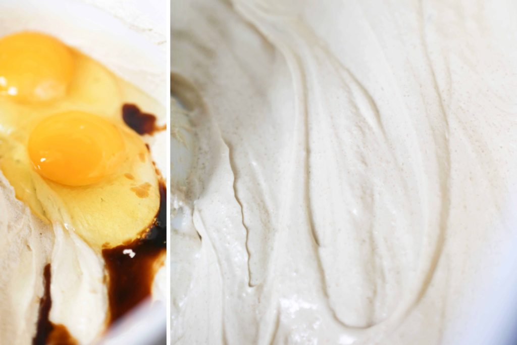 Add, and continue beating until light and fluffy 2 eggs ½ tablespoon vanilla