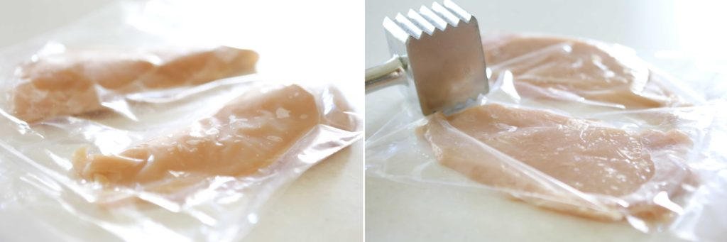 Using the flat side of a mallet, pound the chicken breasts inside plastic zippered bags until 1 cm thick.