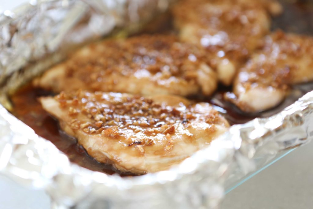 Remove from oven, and let chicken rest in the sauce for 10 minutes.