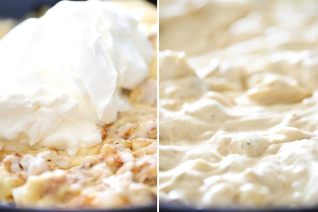 Add 1 ½ cups sour cream Mix until completely combined.