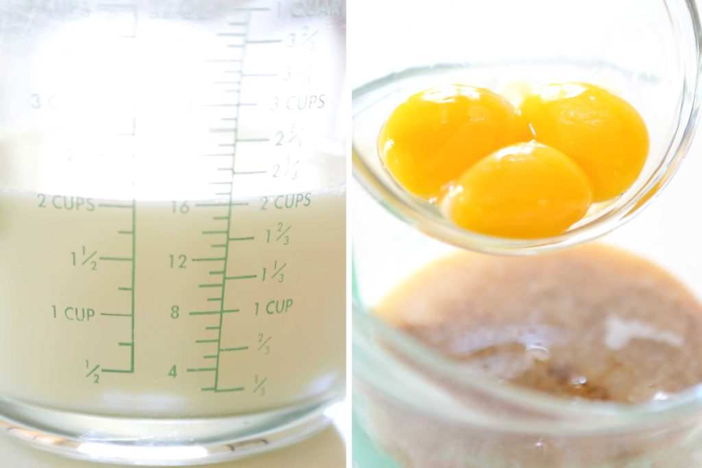 In a 4-cup measure or a mixing bowl, combine 2 cups milk 3 egg yolks 2 teaspoons vanilla extract