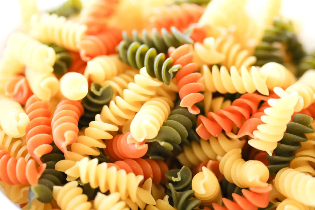 TRI-COLOR ROTINI This takes about 7-8 minutes to cook.
