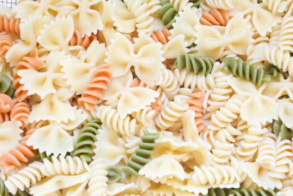 Drain, and rinse the pasta under cold water.