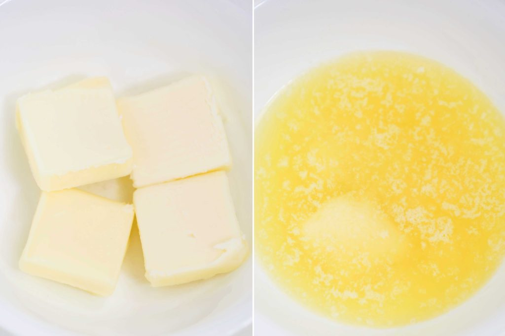 In a small dish melt 4 tablespoons butter set aside to cool.