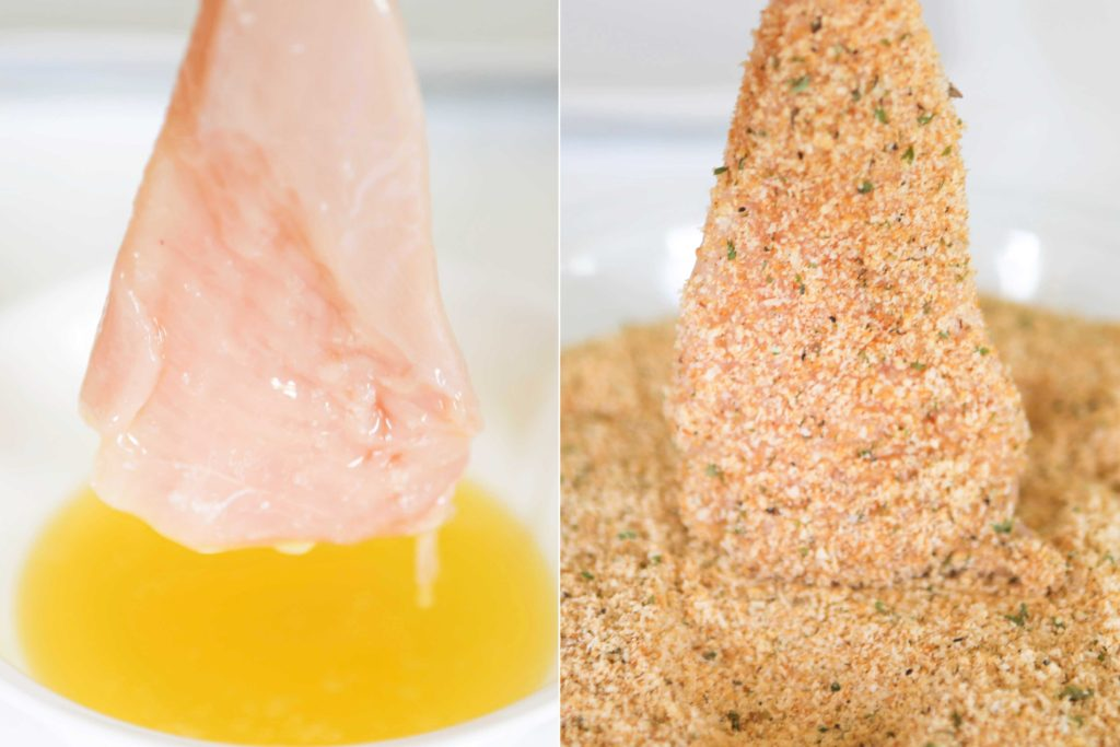 Dip chicken pieces in butter until completely submerged, and then dip in crumb mixture to completely coat.