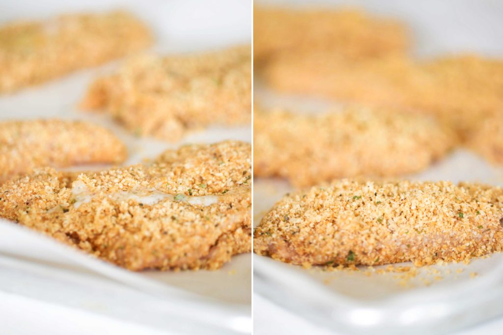 Drizzle remaining butter on top of chicken, and sprinkle with remaining crumbs.
