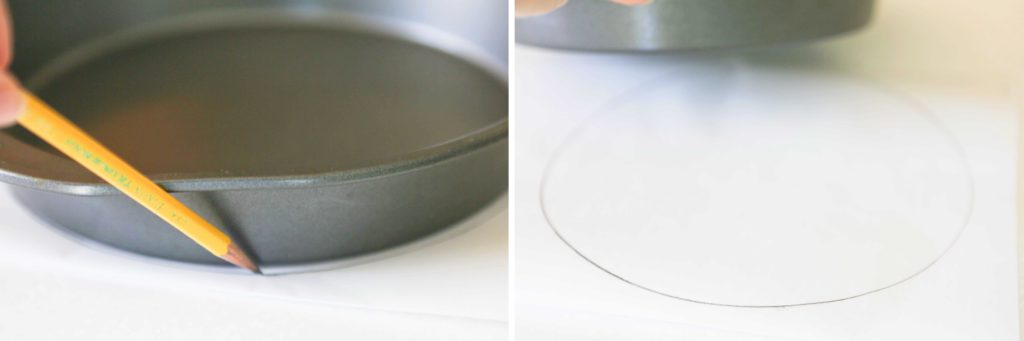 Trace the bottom of a 9 inch round cake pan onto a piece of parchment, and cut 3 circles.