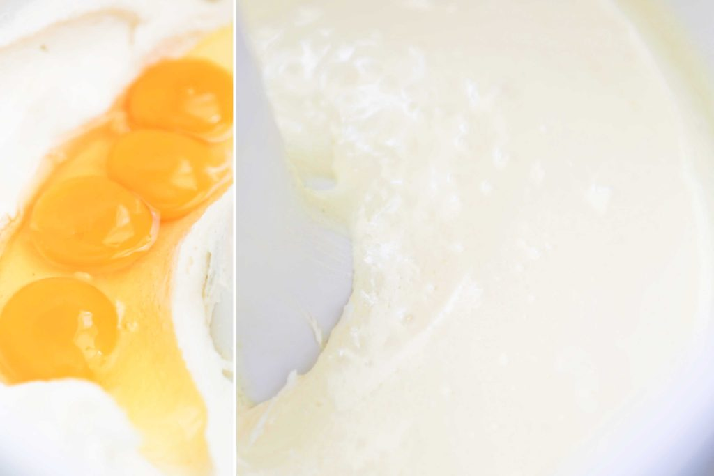 Add 4 larg eggs Beat for another 3-4 minutes.