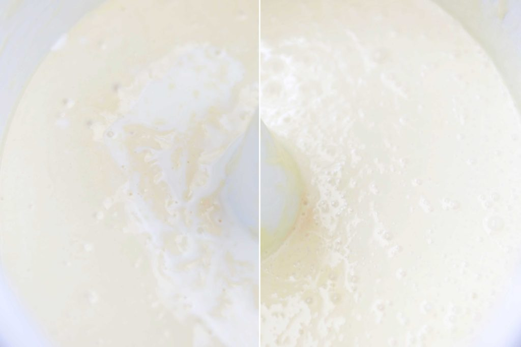 Add one-half of the milk and mix until completely combined, continuing to scrape the sides of the bowl.