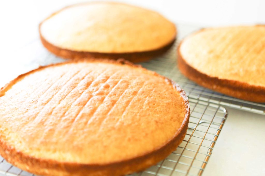Re-invert cakes and allow to cool completely with top sides up.
