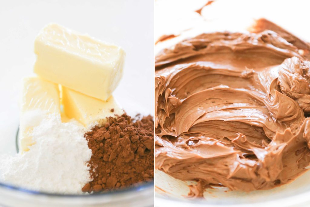 Meanwhile, in a medium mixing bowl, 1/3 cup Dutch-process cocoa powder 1 ½ cup (3 sticks) unsalted butter, softened to room temperature (NOT melted) 1 cup confectioner's sugar ¼ teaspoon salt Beat until light and creamy.