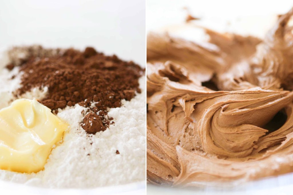 In a large mixing bowl, combine 3 cups powdered sugar 1/3 cup cocoa powder 6 tablespoons butter, softened to room temperature 1/3 cup whipping cream 1 teaspoon vanilla Beat until light and fluffy. (2-3 minutes)