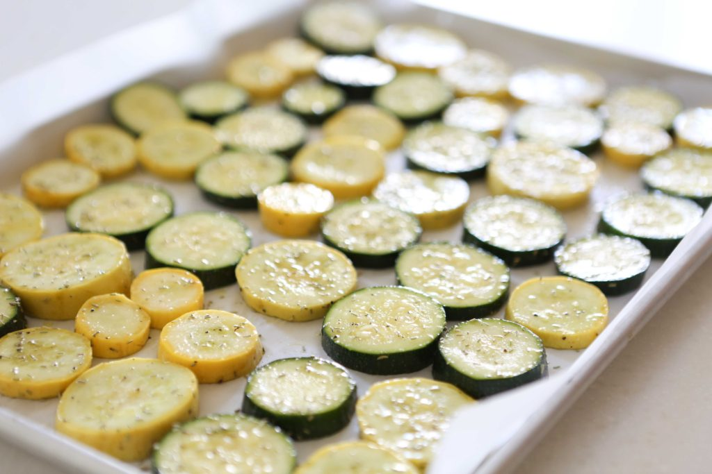 Arrange slices in a single layer on lined baking sheet. Bake at 425 degrees for 20 minutes. Watch carefully so it doesn't burn.