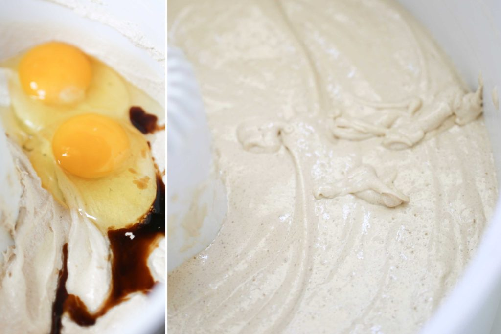 Add, and beat another 2-3 minutes, scraping down sides of bowl 2 eggs, room temperature 1 teaspoon vanilla