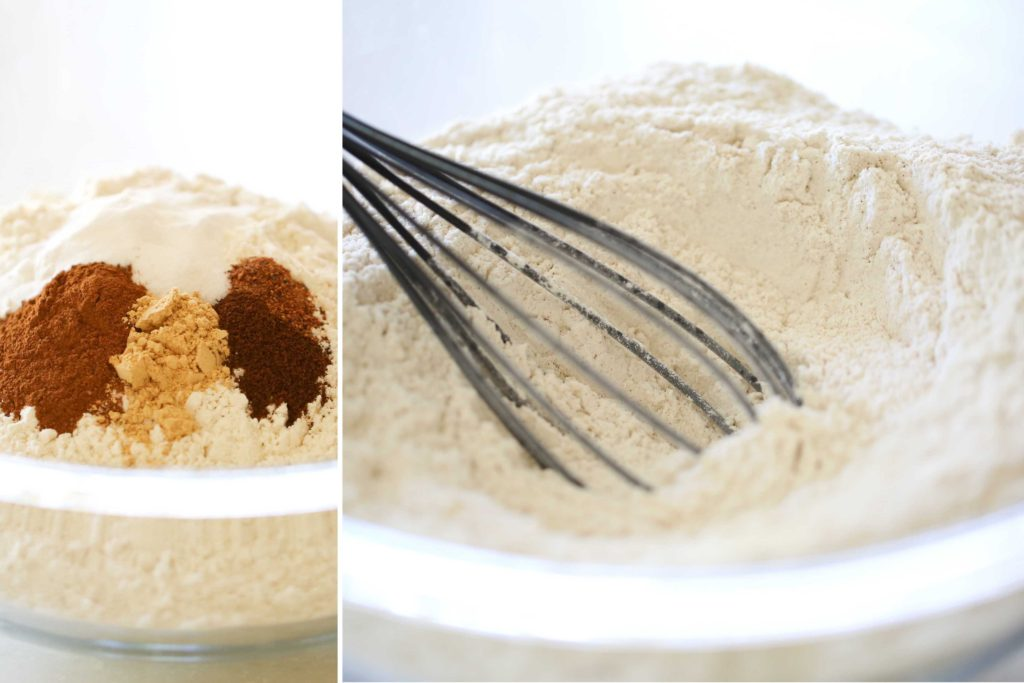 In a large bowl, whisk together 3 cups all-purpose flour 2 teaspoons baking soda ½ teaspoon salt 1 teaspoon cinnamon, heaping ½ teaspoon ginger, heaping ¼ teaspoon ground cloves, heaping 1/8 teaspoon nutmeg