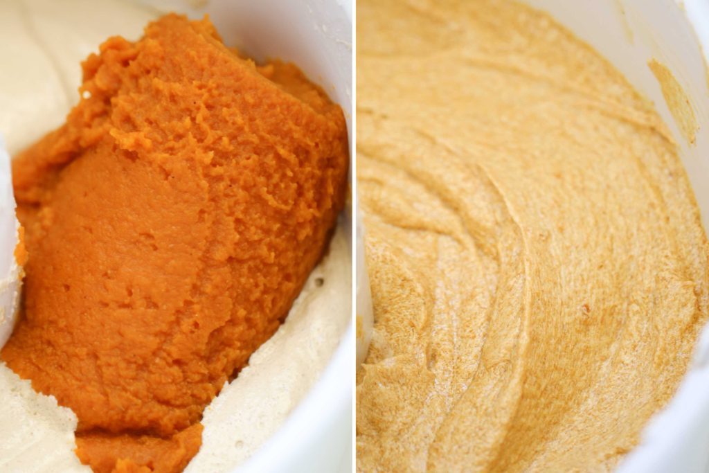 Beat in 1 can (15 ounce) pumpkin puree