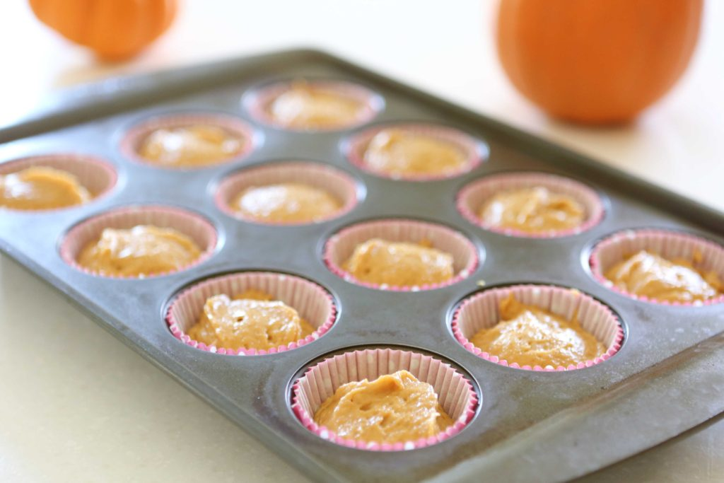 Fill muffin tins two-thirds full with batter. Bake at 375degrees for 15-20 minutes.