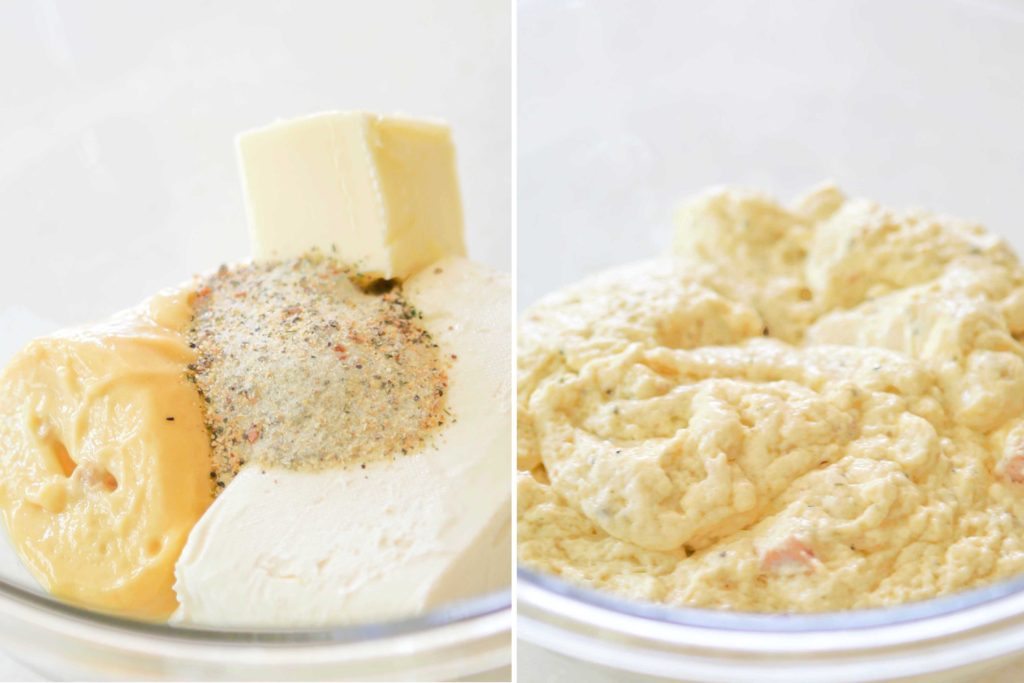 Lightly coat a slow cooker crock with non-stick spray, and place 2 pounds boneless, skinless chicken breast pieces in the bottom.