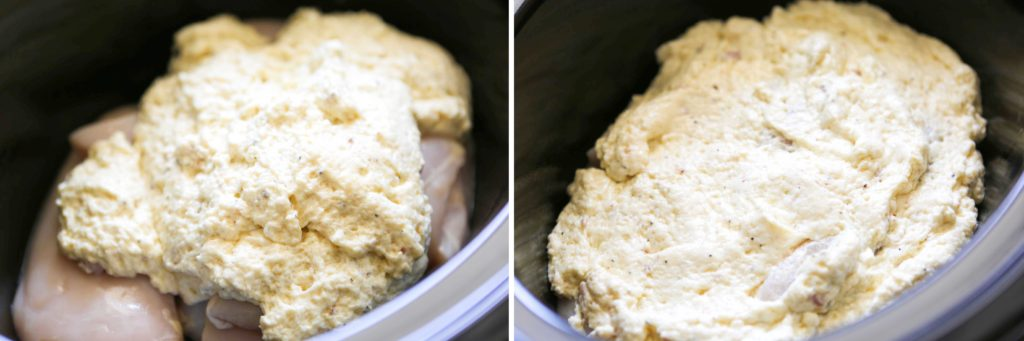 Pour sauce over chicken, and spread to coat.