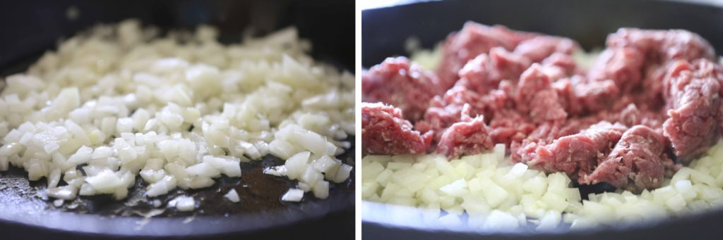 WHILE YOU'RE WAITING FOR THE WATER TO BOIL: In large skillet, over medium-high heat, sauté the following, 1 pound lean ground beef 1 medium onion, chopped Stirring constantly, brown until completely cooked.