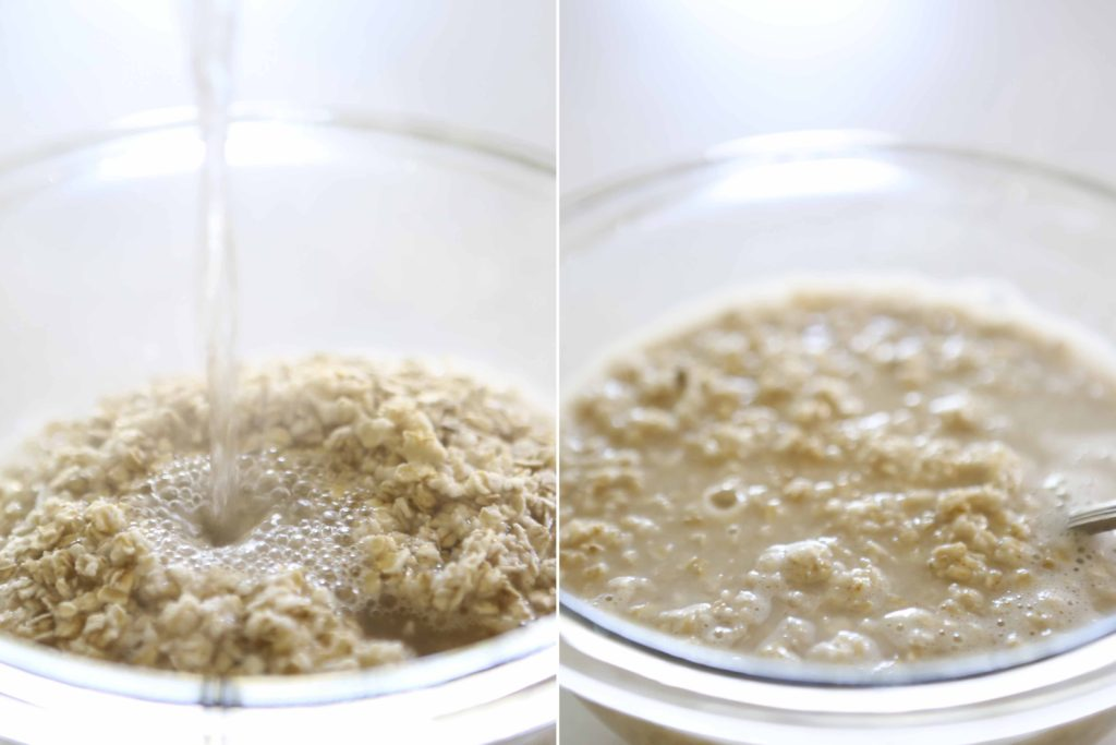 In a small mixing bowl, measure 1 cup rolled oats (not instant oatmeal) Pour 1 ½ cups boiling water over oats, and mix thoroughly. Allow to stand until cool.