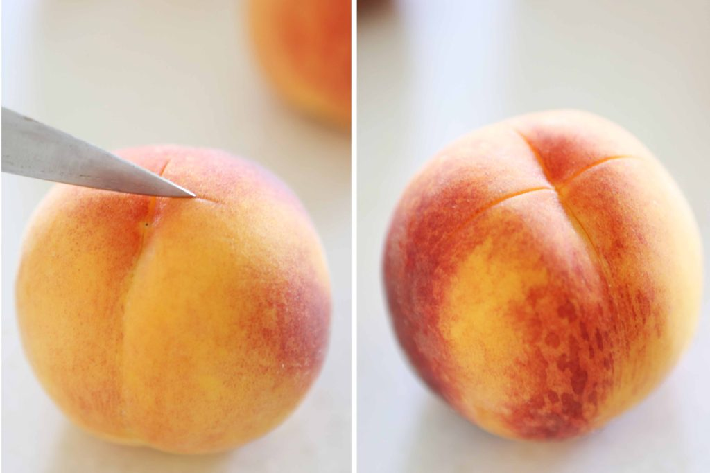 Use a sharp knife to score an X through the peel on the bottom of each clean peach.
