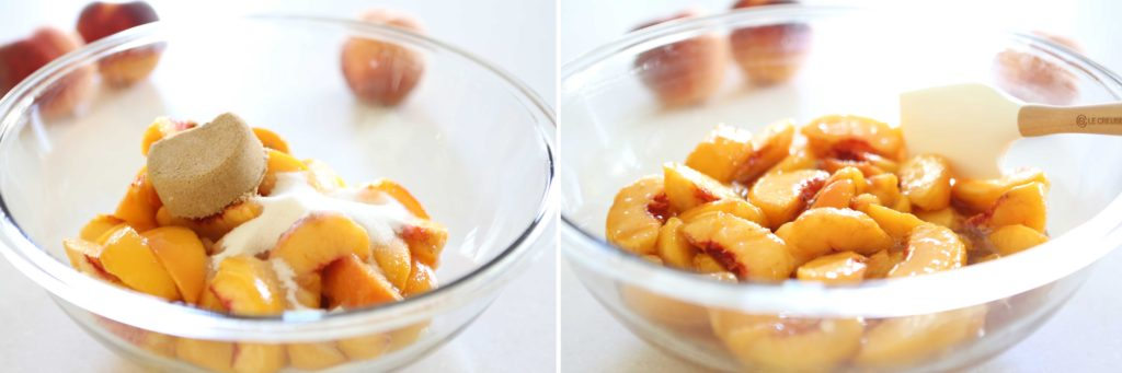 In a large mixing bowl, gently mix the following 6 cups sliced, peeled peaches (about 2 pounds) ½ cup sugar ¼ cup packed brown sugar